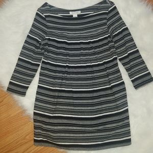 White House Black Market Striped Pleated Top